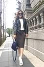 White-zalora-shoes-black-leather-zara-jacket-navy-longchamp-bag