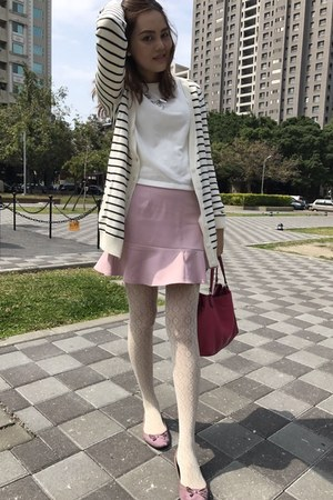 white anna sui tights - hot pink coach bag - pink skirt