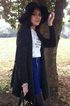 black hat - black bag - gray cardigan - blue skirt - white top