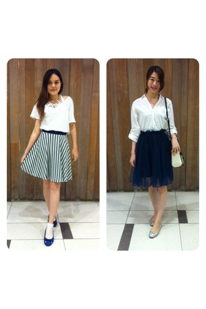 silver shoes - blue shoes - white Zara top - navy stripped skirt - navy skirt