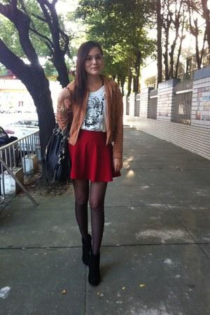 black boots - light orange jacket - black bag - gold bracelet - ruby red skirt