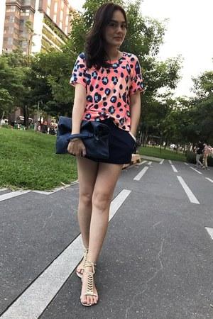 navy hand bag - navy net shorts - eggshell lace up sandals