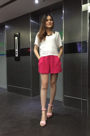 hot pink shorts - white Zara top - bubble gum sandals - silver necklace