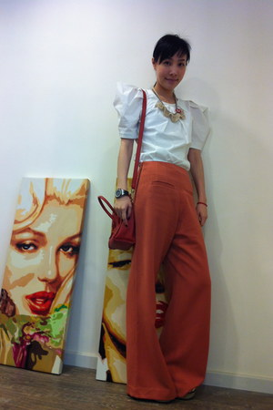 carrot orange pants - Celine bag - white blouse