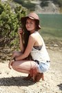 Bronze-h-m-boots-crimson-h-m-hat-periwinkle-denim-vintage-shorts