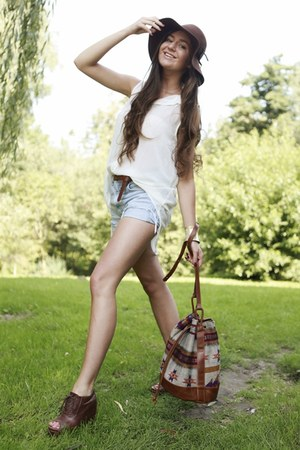 tan aztec H&M bag - crimson H&M hat - ivory chiffon Stradivarius shirt