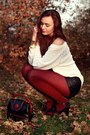 Black-romwe-shoes-cream-second-hand-sweater-black-leather-h-m-shorts