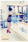 Black-second-hand-top-red-deezee-heels-black-polka-dot-handmade-skirt