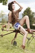 periwinkle denim usa DIY shorts - bronze H&M boots - army green vintage hat