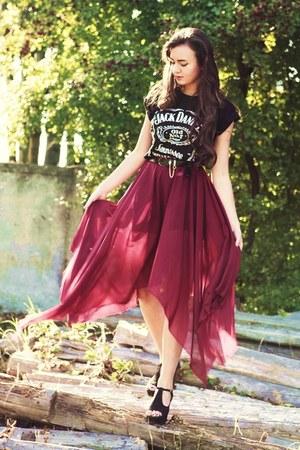 brick red maxi chiffon handmade skirt - black romwe shoes