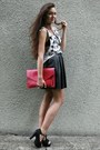 Hot-pink-clutch-romwe-bag-white-swallows-handmade-top-black-leather-handmade