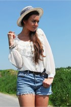 white my grandmas vintage hat - cream chiffon romwe shirt - dark brown coffee ro