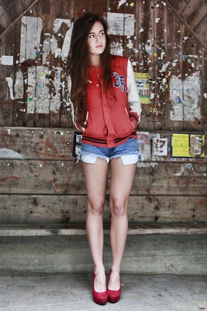 red baseball H&M jacket - periwinkle diy vintage shorts - ruby red deezee heels