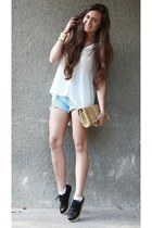 light blue jeans DIY shorts - black creepers romwe shoes
