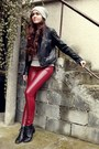 Brick-red-leather-cubus-pants-black-vintage-boots-heather-gray-cubus-hat