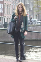Zara jacket - Zara coat - maison scotch jeans - Zara blouse - H&M wedges
