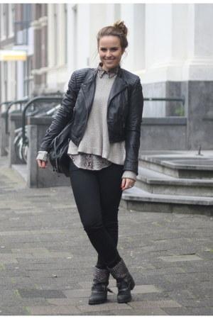 sam edelman boots - H&M jumper - Zara blouse