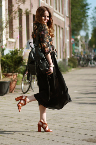 suede asos heels - sheer Monki skirt - Topshop blouse