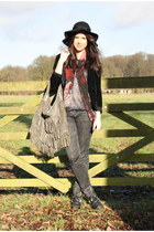 studded sam edelman boots - velvet Urban Outfitters jacket - printed River Islan