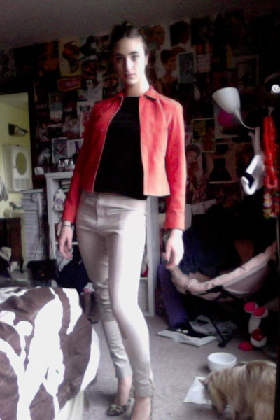 74d6745ce3c red suede calvin klein jacket - black Forever 21 sweater - tan riding pants  H M