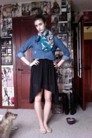 black Forever 21 skirt - turquoise blue Bob Mackie scarf