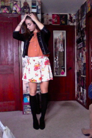 knee high socks Urban Outfitters socks - H&M jacket - Forever 21 blouse