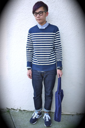 blue Supreme jeans - blue JCrew shirt - navy asos bag