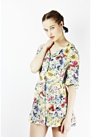 vintage floral Bird on a wire dress - denim Bird on a wire jacket
