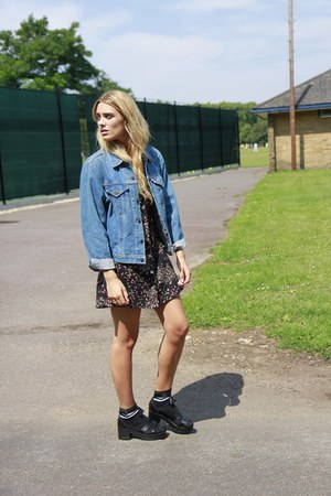 blue denim jacket Levis jacket - black cotton Bird on a wire dress