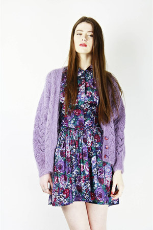 floral Bird on a wire dress - lilac mohair Bird on a wire cardigan