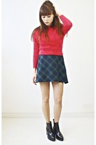 wool PLAID TARTAN SKIRT skirt - leather boots boots