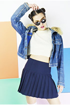 navy pleated Bird on a wire skirt - levis 90s denim Bird on a wire jacket
