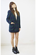 wool Plaid Blazer blazer - wool Merino wool Aquascutum Turtle neck sweater