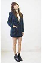 wool Plaid Blazer blazer - wool Merino wool Aquascutum Turtle neck sweater