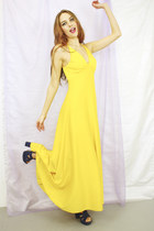 yellow 1970s Bird on a wire dress