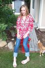 Red-inc-top-beige-cherokee-shoes-blue-miss-bisou-jeans-brown