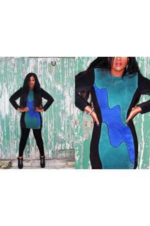 Beyond Retro dress - black velvet Miss Selfridge leggings - Office wedges