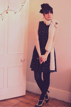 black Mango dress - cream Zara scarf - black heels