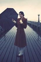 brown vintage coat - white H&M tights - ivory vintage gloves - black Topshop sho