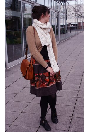 mustard H&M cardigan - white Zara scarf - dark brown Zara skirt - black vintage
