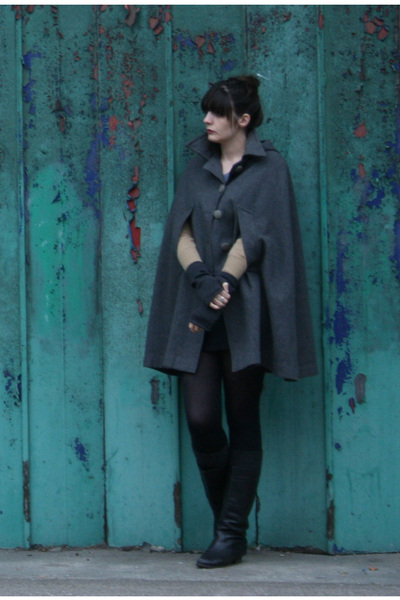 vintage coat - vintage boots - H&M cardigan - American Apparel dress