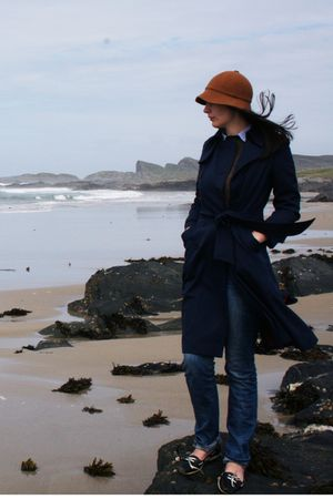 orange jaeger hat - blue Aquascutum coat - blue acne jeans - black Topshop shoes