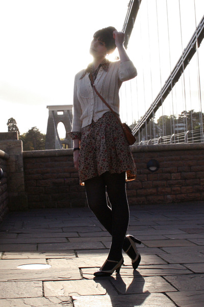 beige Topshop cardigan - brown Betty Barclay Vintage dress - gray M&S tights - b