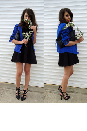blue cobalt blue jacket - black leather DIY bag - black peplum Stradivarius top