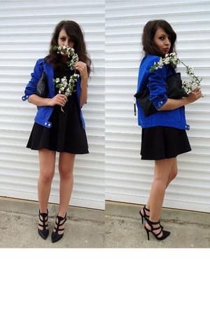 blue cobalt blue jacket - black leather DIY bag - black peplum Stradivarius top
