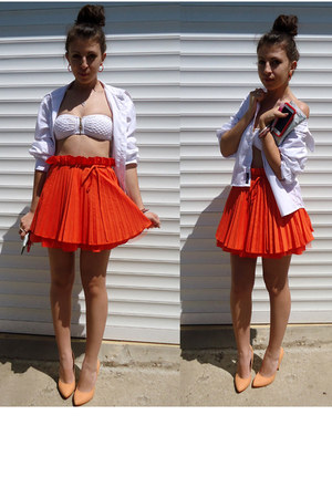 carrot orange orangemini Jones and Jones skirt - white Evileye denim shirt