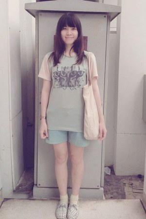 off white t-shirt - light blue shoes - beige bag - sky blue shorts - cream socks