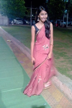 coral saree dress
