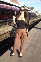 black Stradivarius blazer - dark brown H&M sunglasses - camel Bershka pants