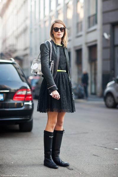 Black Lace Dresses Black Boots Black Leather Jackets Yellow Thin